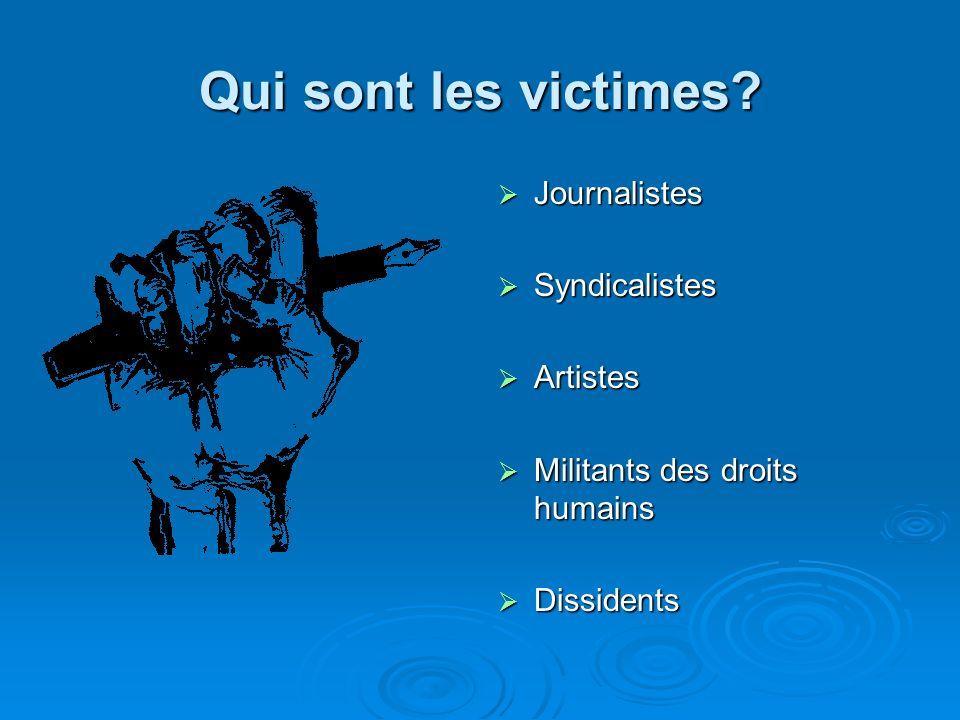 Qui sont les victimes Journalistes Syndicalistes Artistes