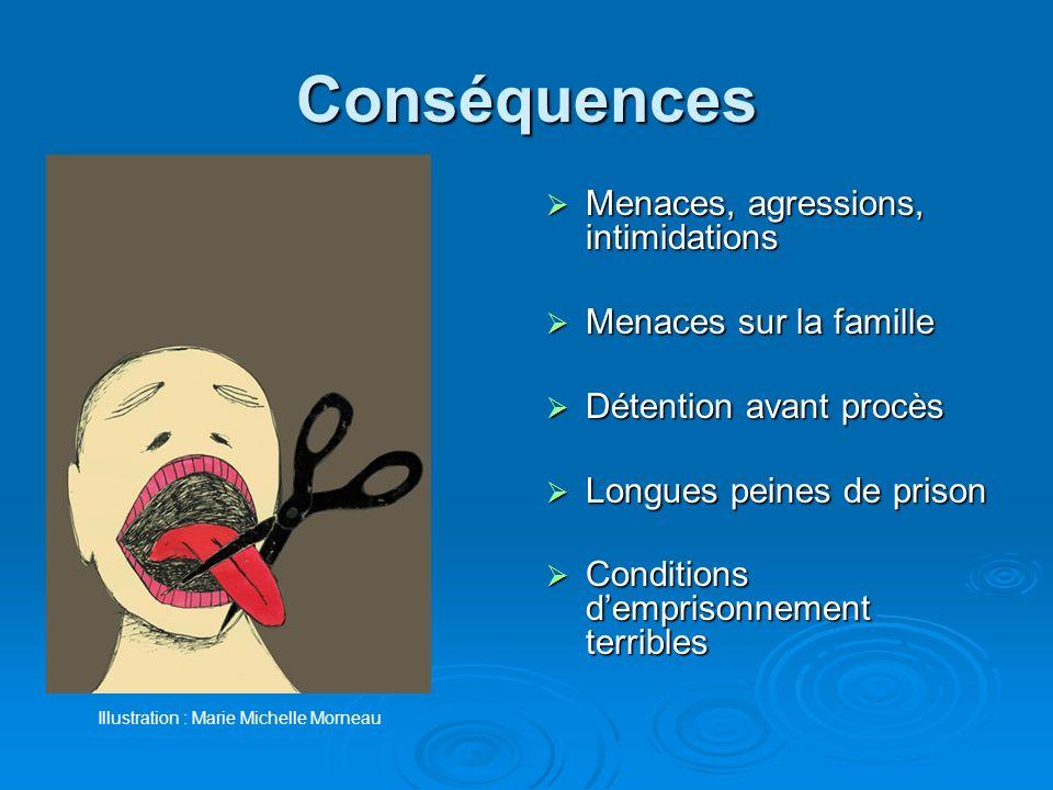 Conséquences Menaces, agressions, intimidations Menaces sur la famille