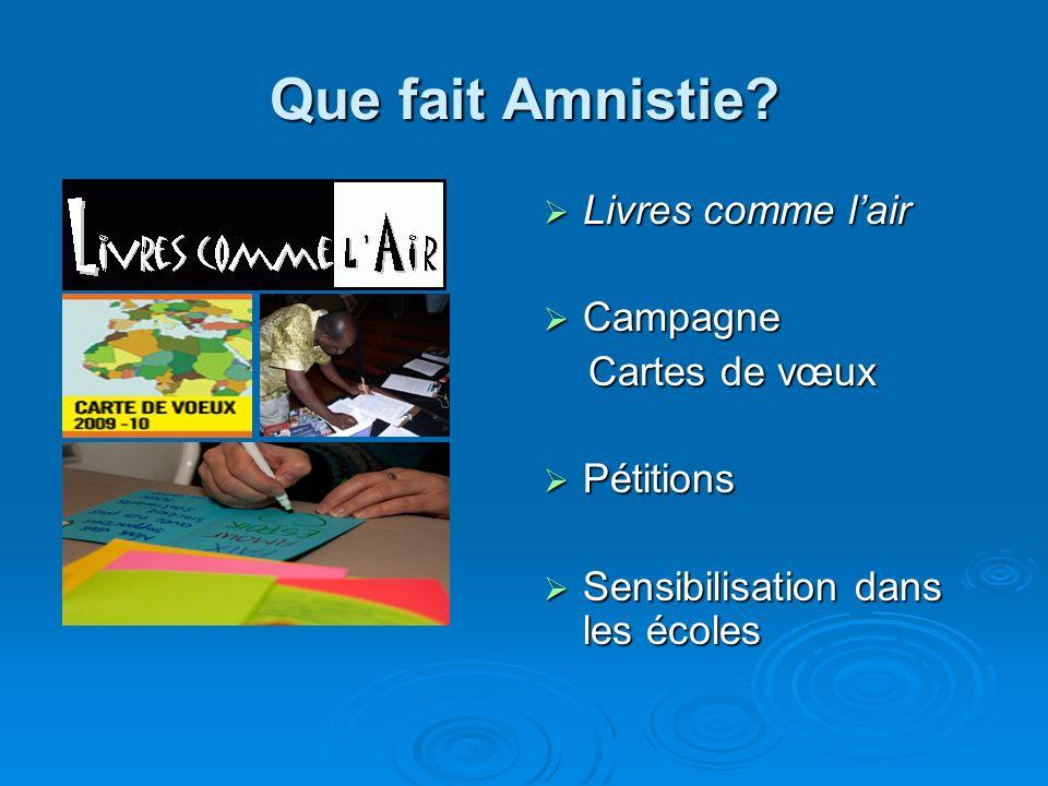 Que fait Amnistie Livres comme l'air Campagne Cartes de vœux
