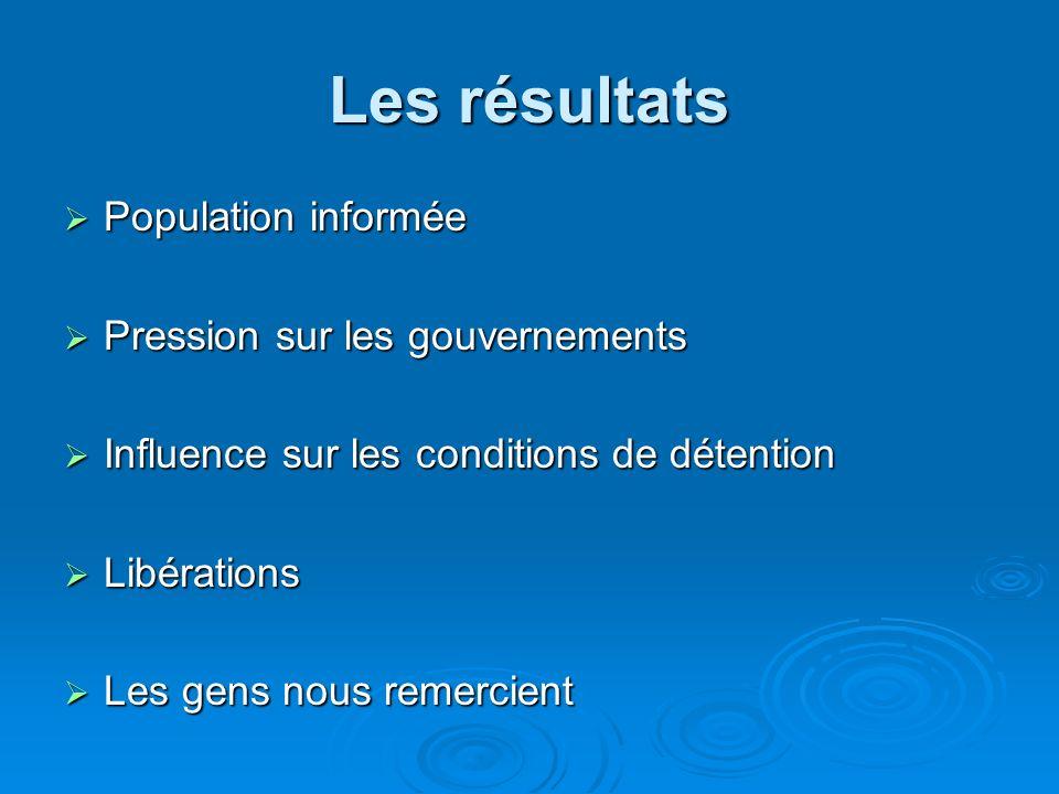 Les résultats Population informée Pression sur les gouvernements