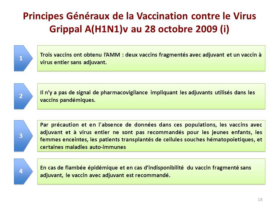 Principes Généraux de la Vaccination contre le Virus Grippal A(H1N1)v au 28 octobre 2009 (i)