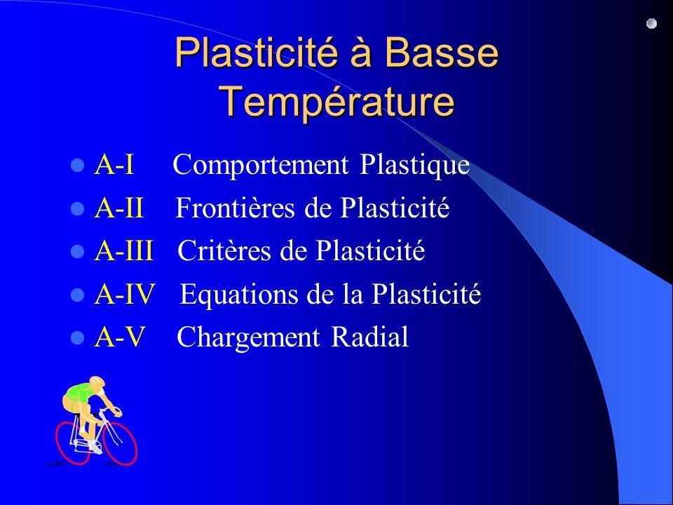Plasticité à Basse Température