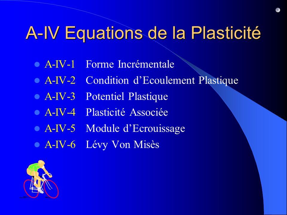 A-IV Equations de la Plasticité