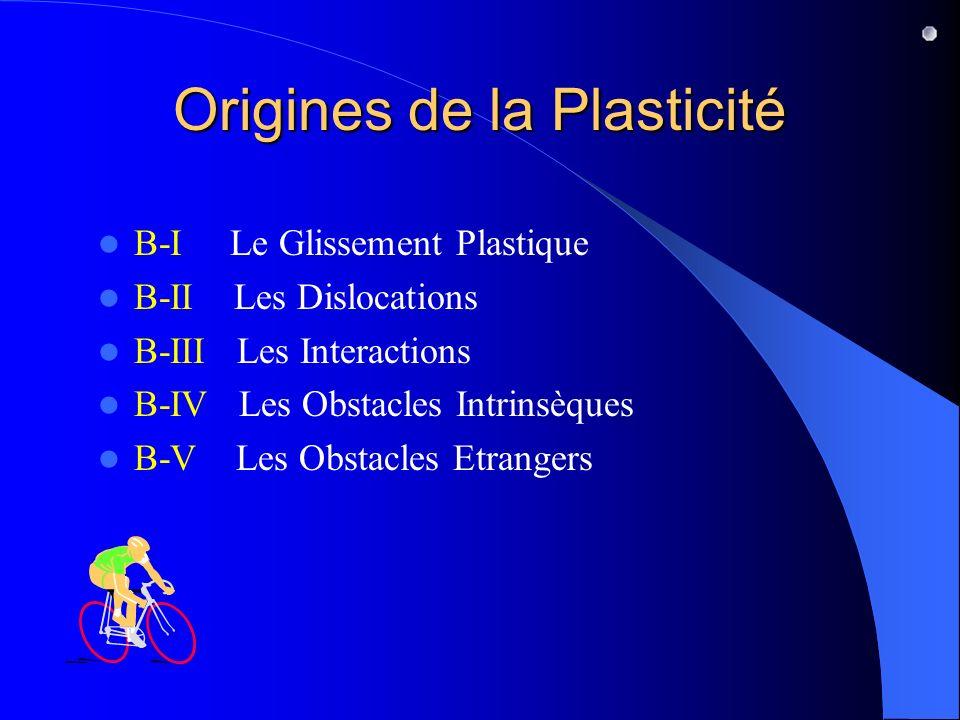 Origines de la Plasticité