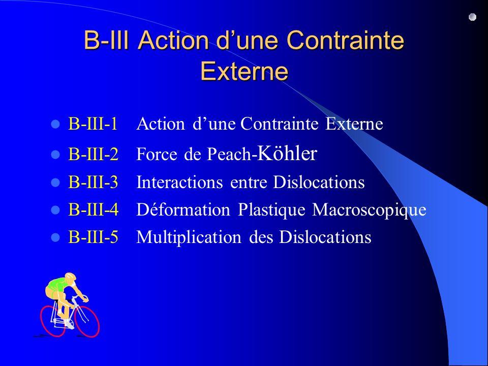 B-III Action d'une Contrainte Externe