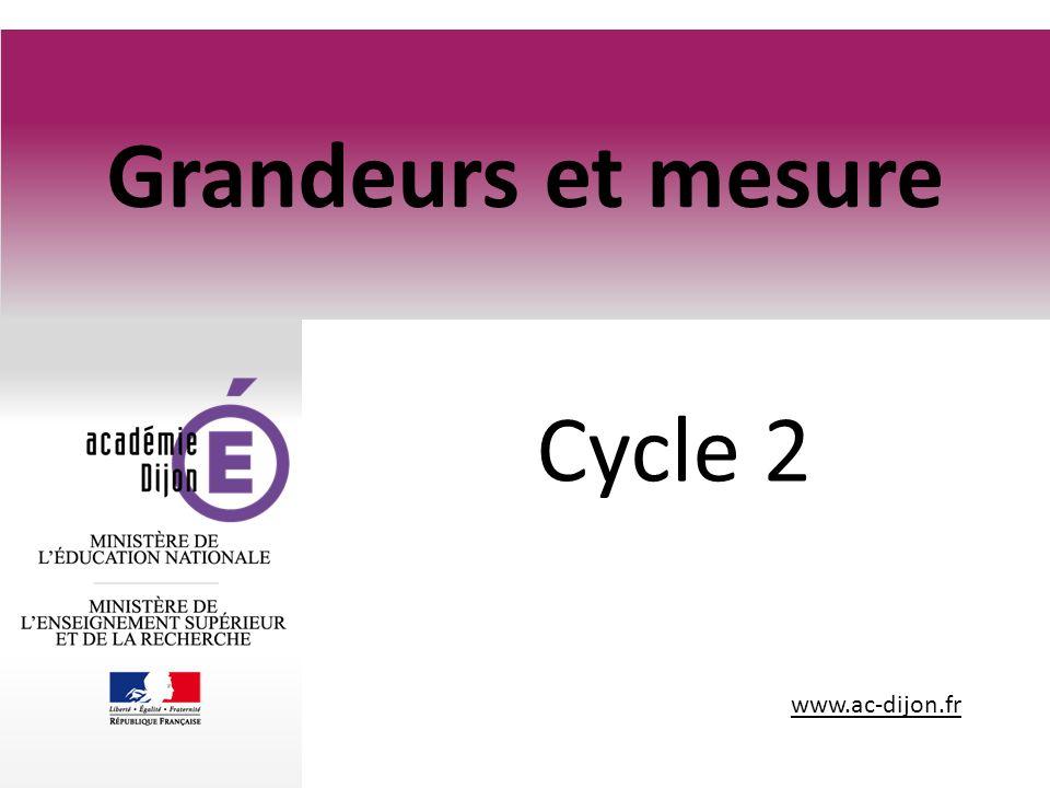 Grandeurs et mesure Cycle 2