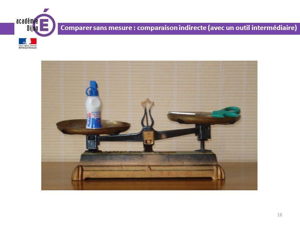 Comparer sans mesure : comparaison indirecte (avec un outil intermédiaire)