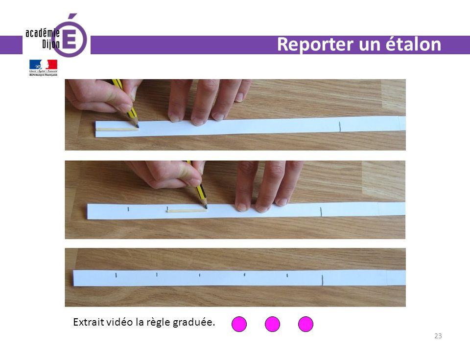 Reporter un étalon Extrait vidéo la règle graduée.