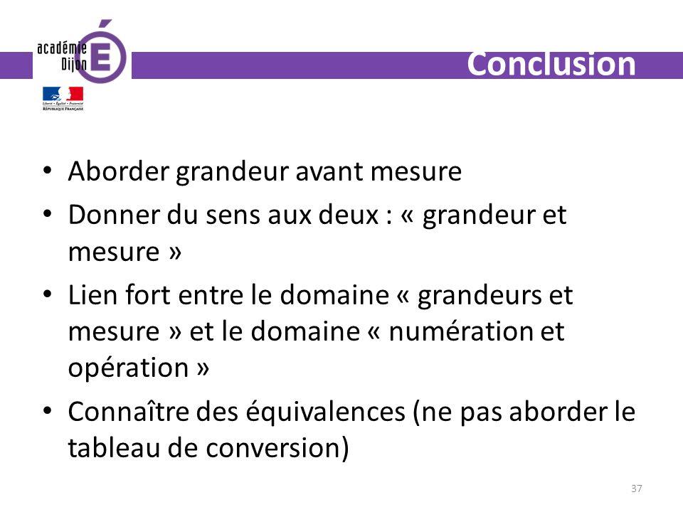 Conclusion Aborder grandeur avant mesure