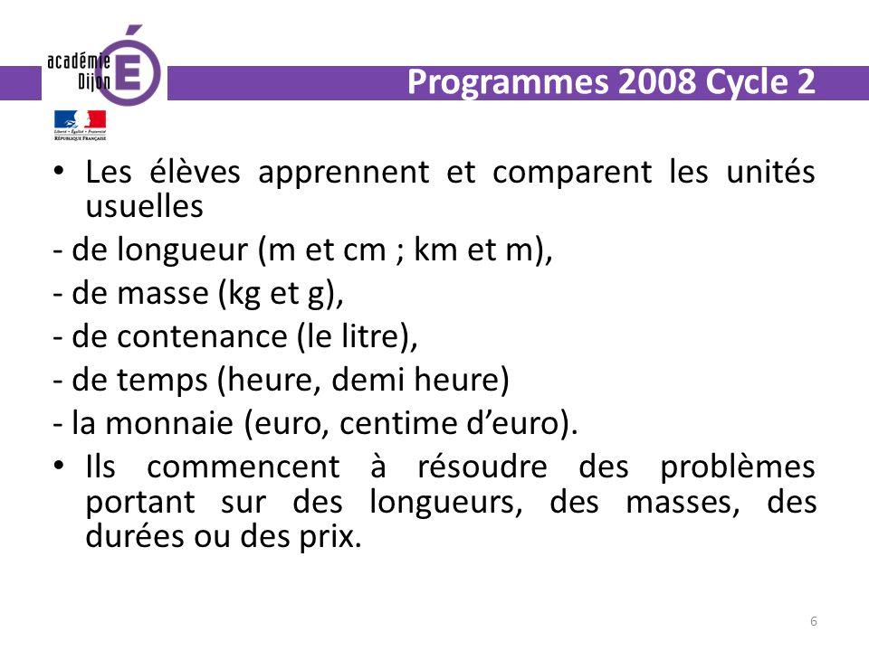 Programmes 2008 Cycle 2 Les élèves apprennent et comparent les unités usuelles. - de longueur (m et cm ; km et m),