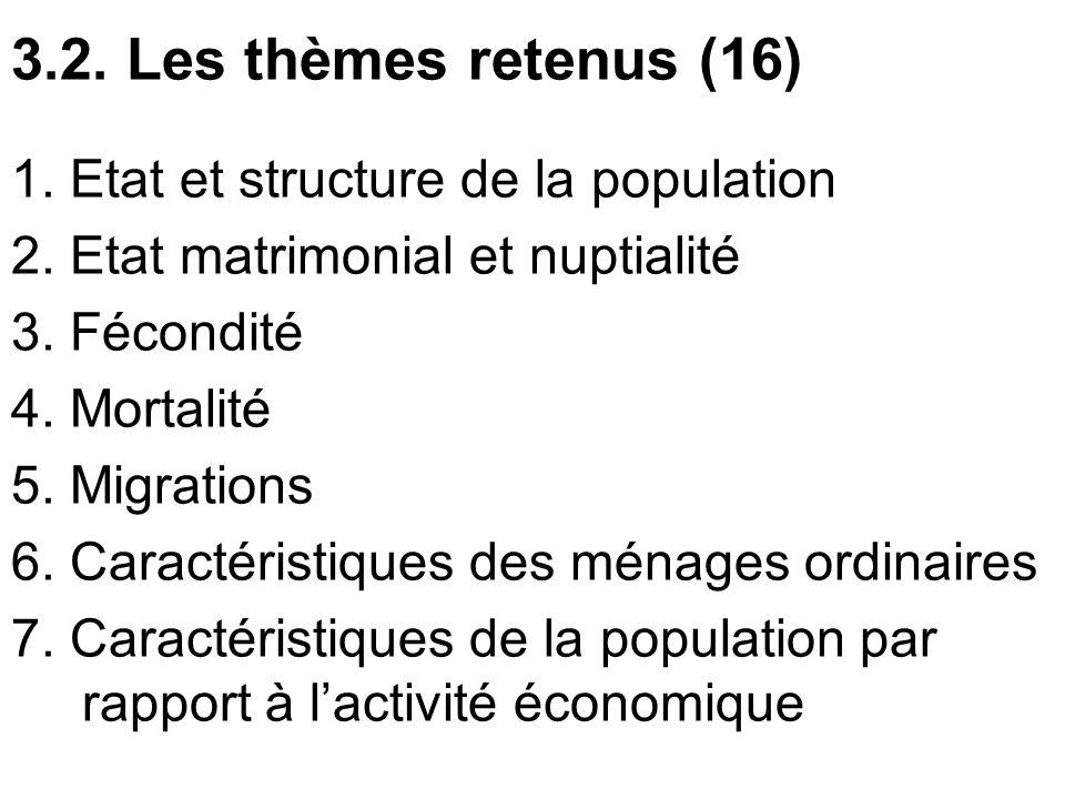 3.2. Les thèmes retenus (16) 1. Etat et structure de la population