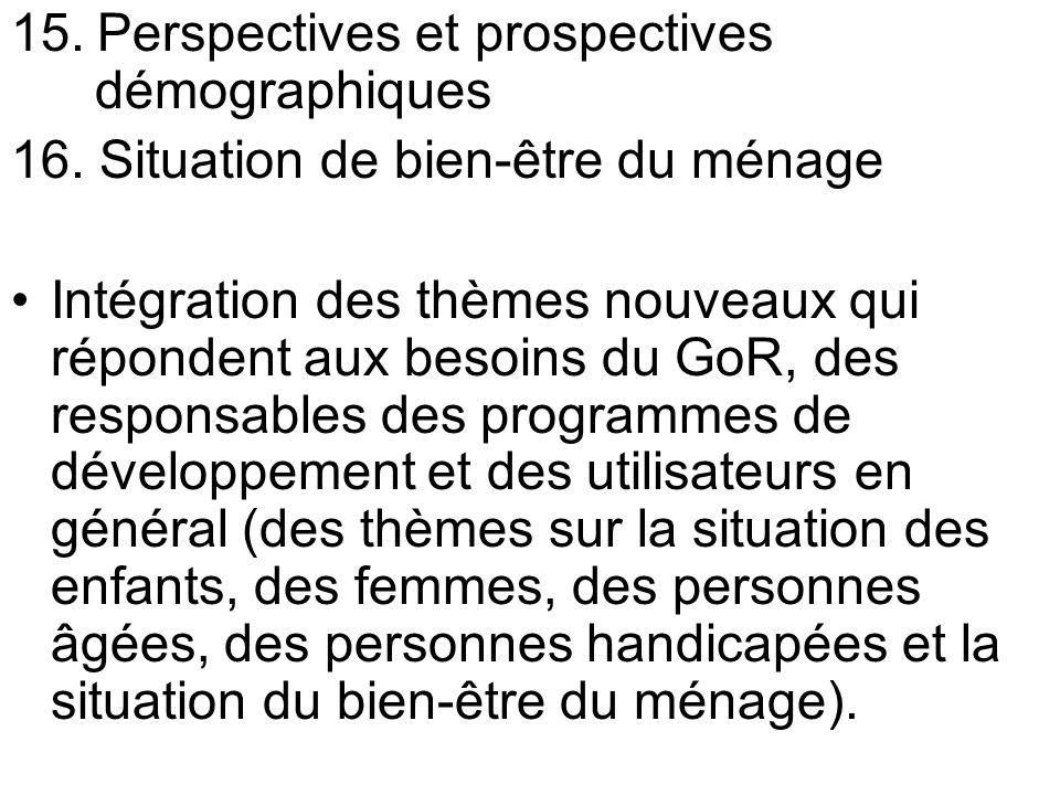 15. Perspectives et prospectives démographiques