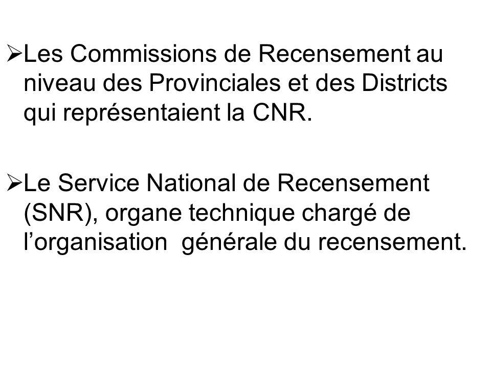 Les Commissions de Recensement au niveau des Provinciales et des Districts qui représentaient la CNR.