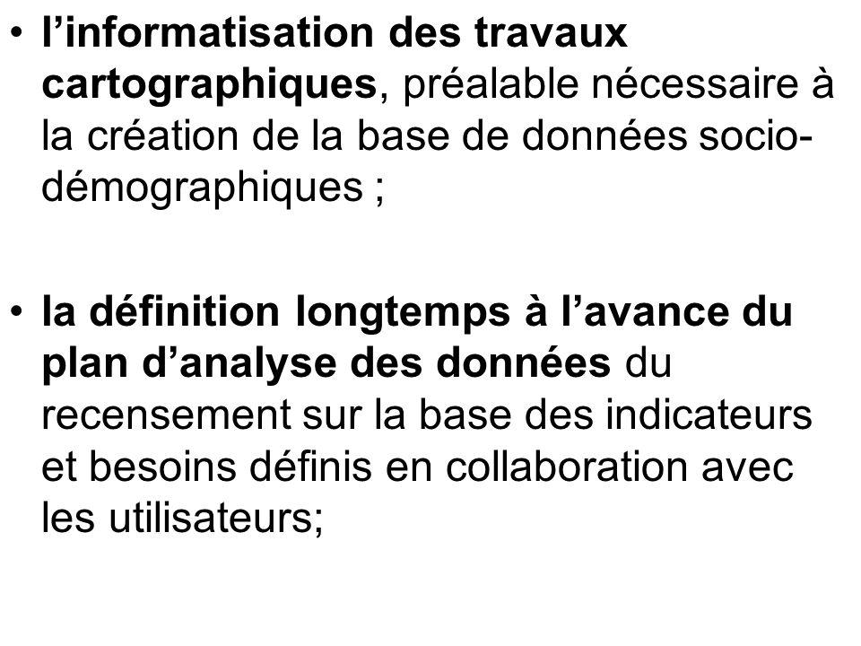 l'informatisation des travaux cartographiques, préalable nécessaire à la création de la base de données socio-démographiques ;