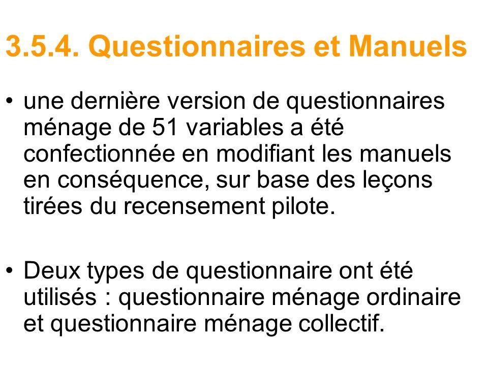 3.5.4. Questionnaires et Manuels