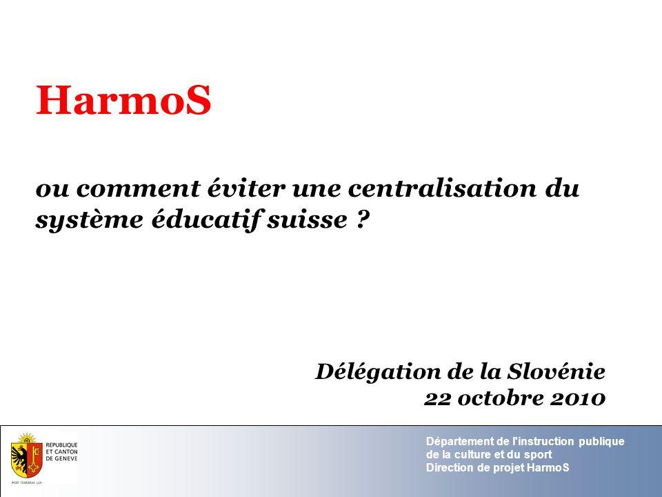 HarmoS ou comment éviter une centralisation du système éducatif suisse Délégation de la Slovénie.