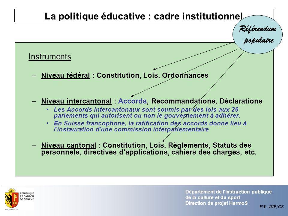 La politique éducative : cadre institutionnel