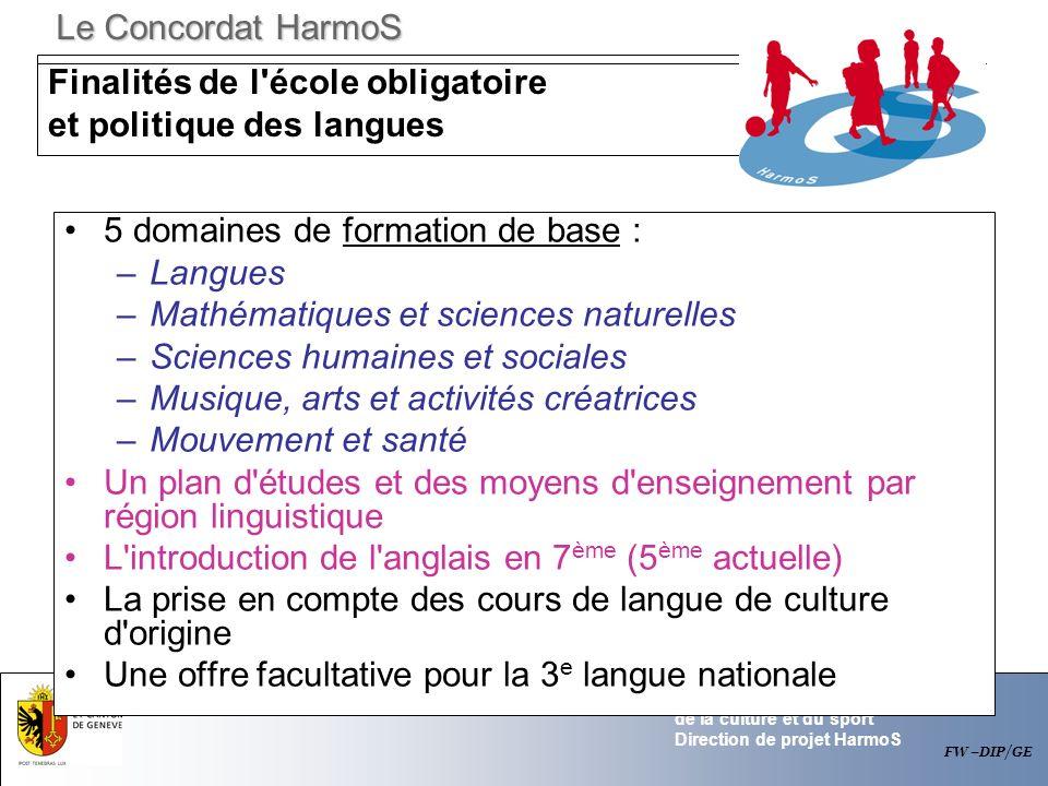 Finalités de l école obligatoire et politique des langues