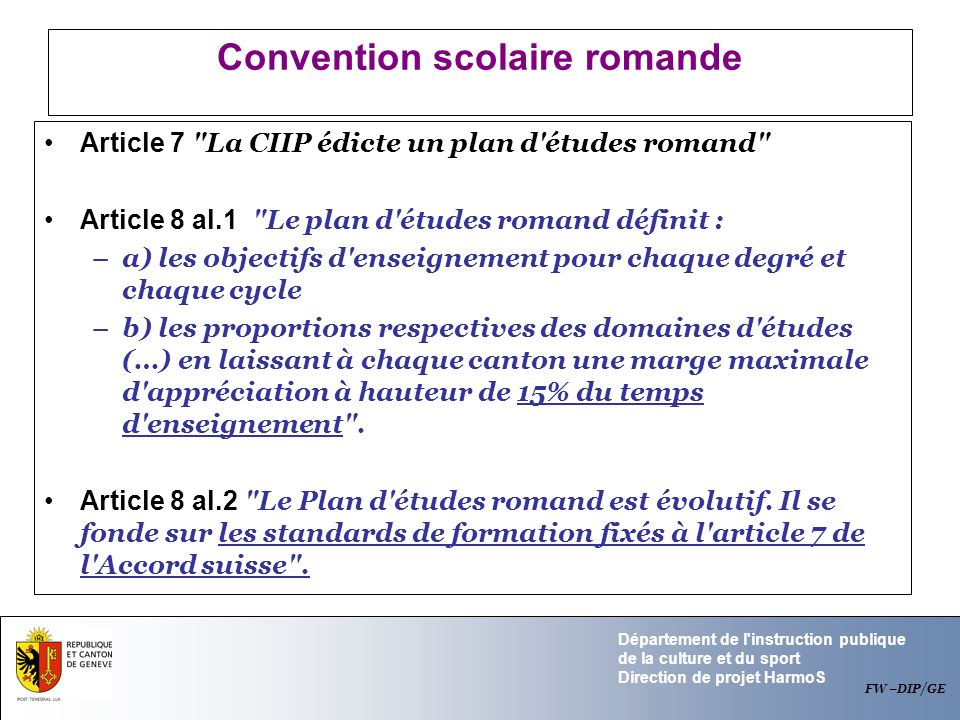Convention scolaire romande