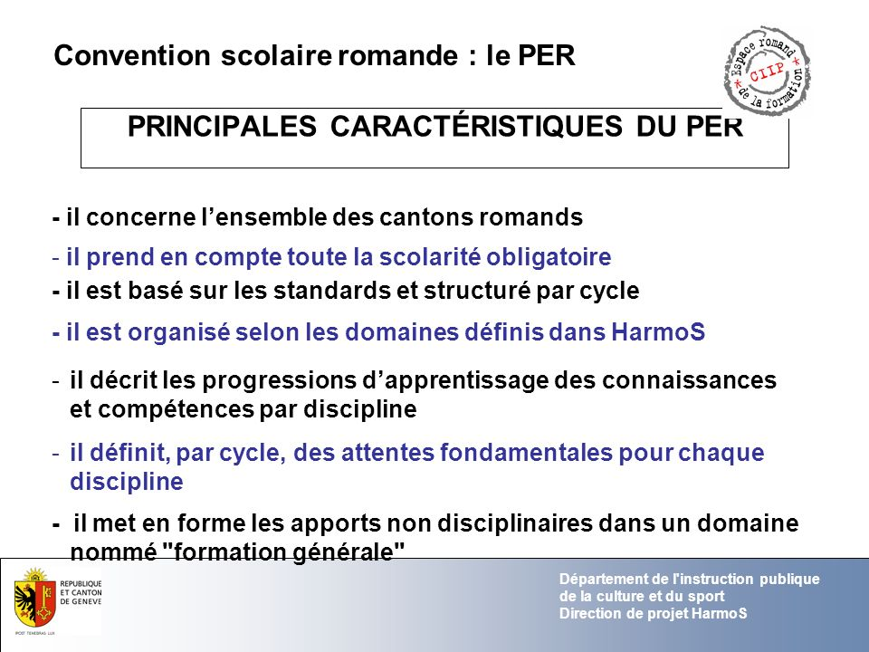 PRINCIPALES CARACTÉRISTIQUES DU PER