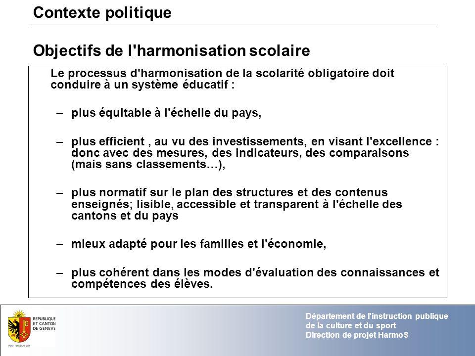 Objectifs de l harmonisation scolaire