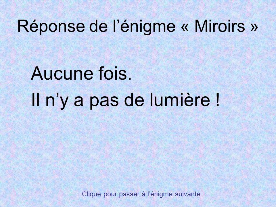 Réponse de l'énigme « Miroirs »