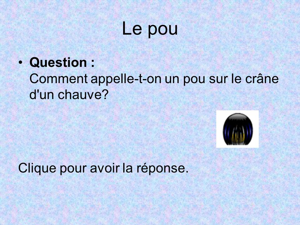 Le pou Question : Comment appelle-t-on un pou sur le crâne d un chauve.
