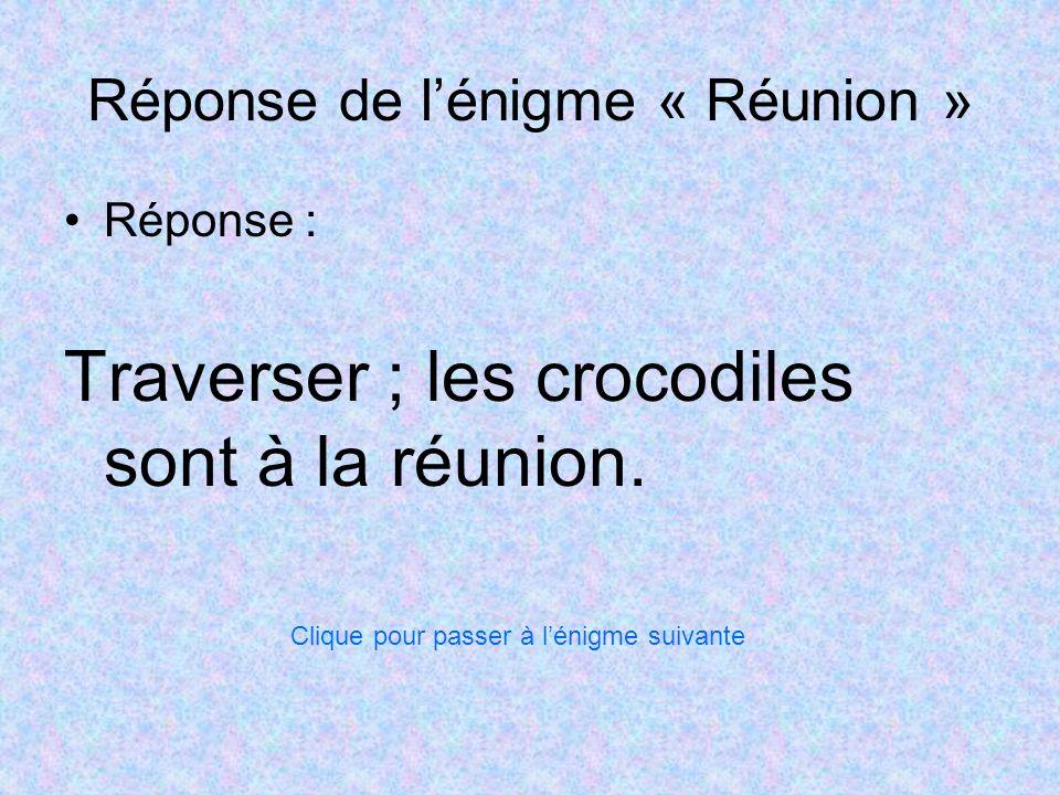 Réponse de l'énigme « Réunion »