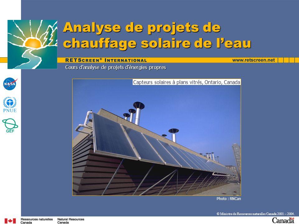 Capteurs solaires à plans vitrés, Ontario, Canada