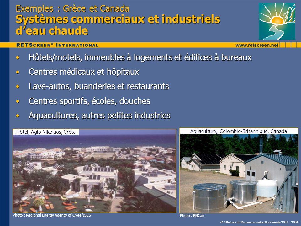 Exemples : Grèce et Canada Systèmes commerciaux et industriels d'eau chaude