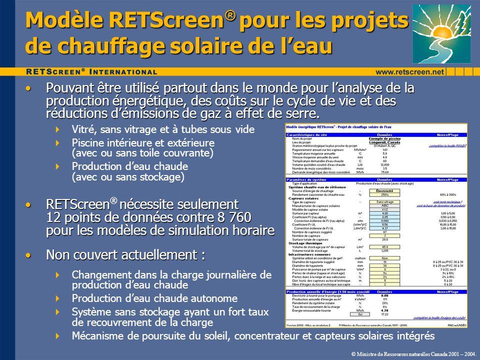 Modèle RETScreen® pour les projets de chauffage solaire de l'eau