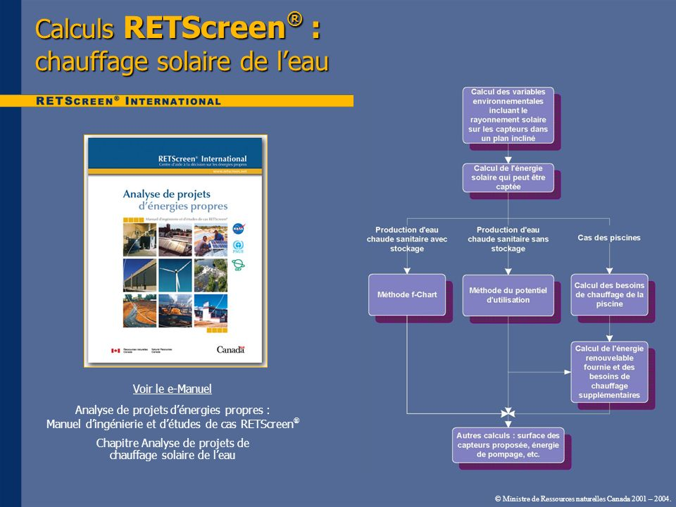 Calculs RETScreen® : chauffage solaire de l'eau