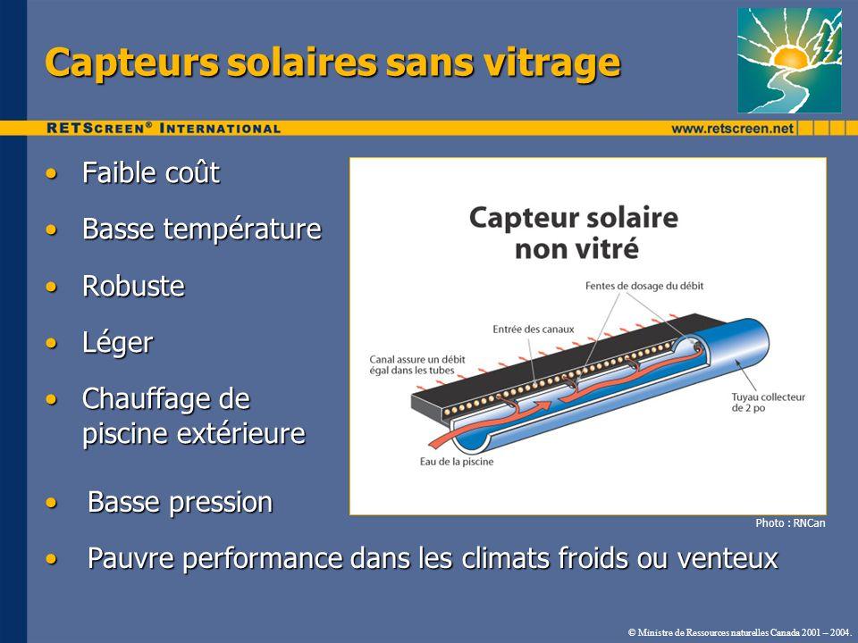Capteurs solaires sans vitrage
