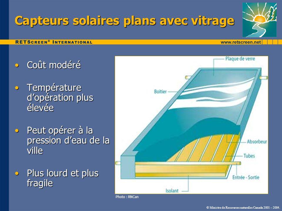 Capteurs solaires plans avec vitrage
