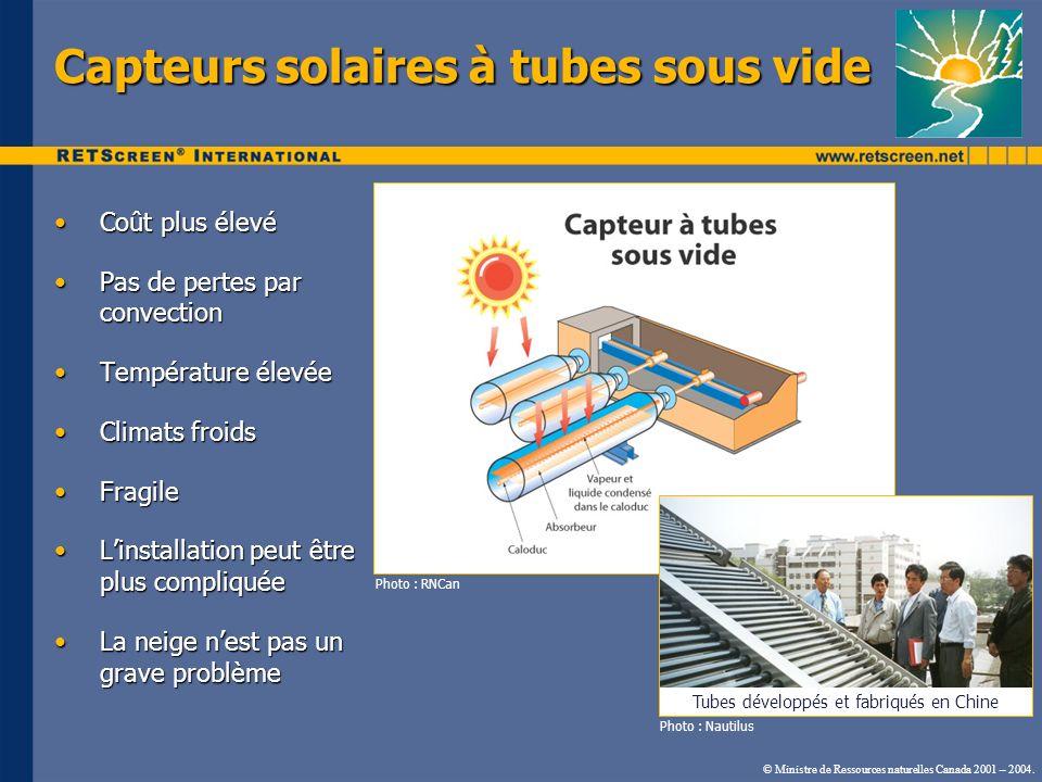 Capteurs solaires à tubes sous vide