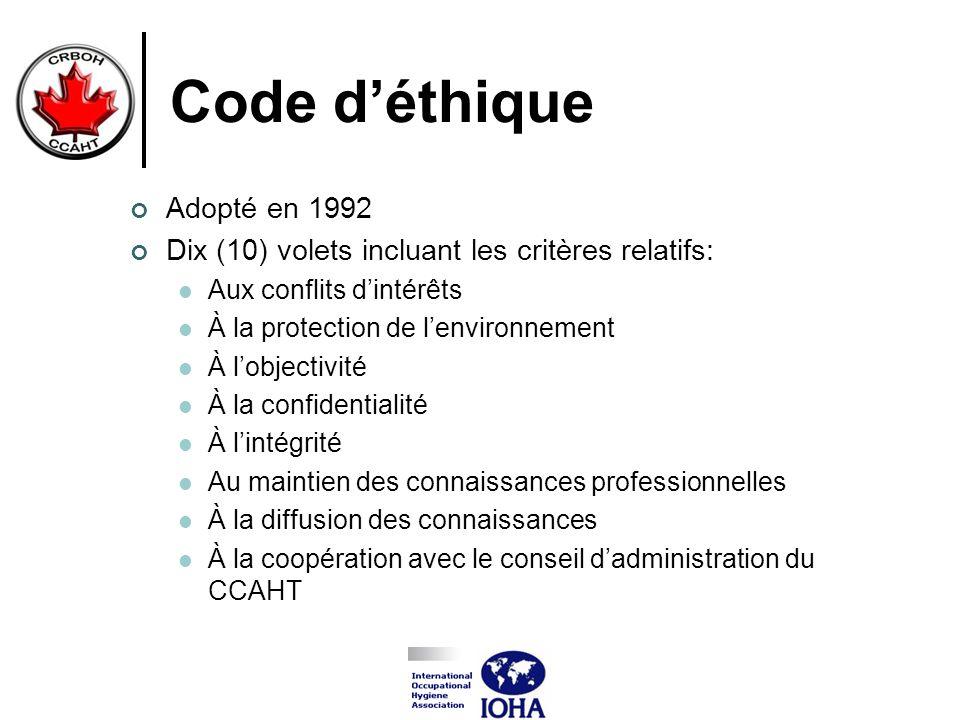 Code d'éthique Adopté en 1992