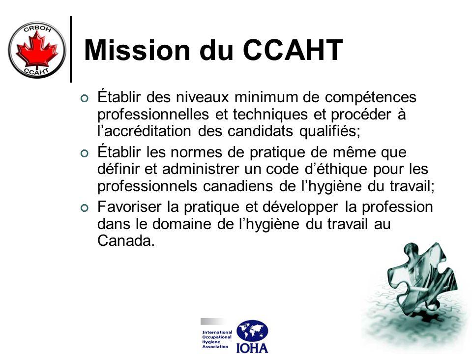 Mission du CCAHT Établir des niveaux minimum de compétences professionnelles et techniques et procéder à l'accréditation des candidats qualifiés;
