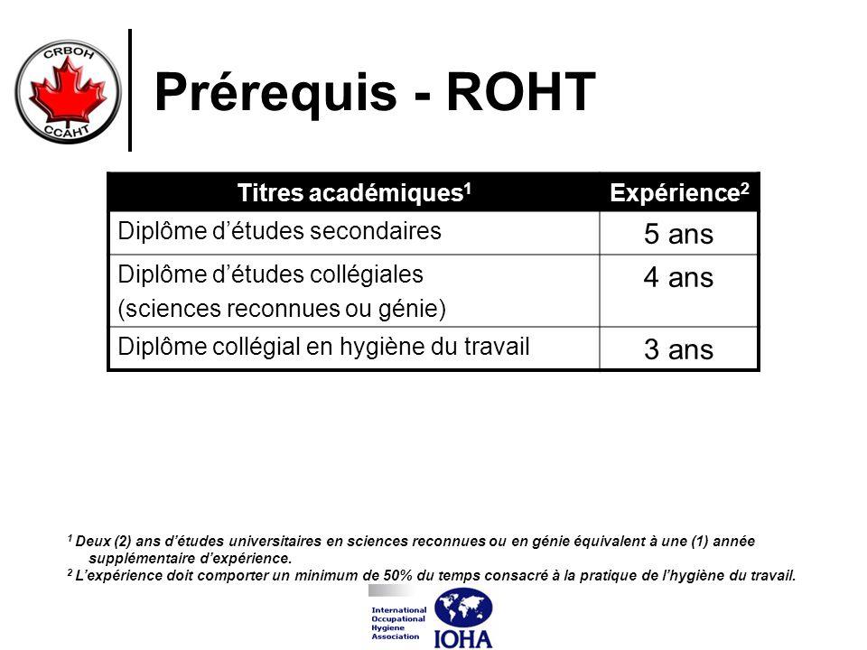 Prérequis - ROHT 5 ans 4 ans 3 ans Titres académiques1 Expérience2