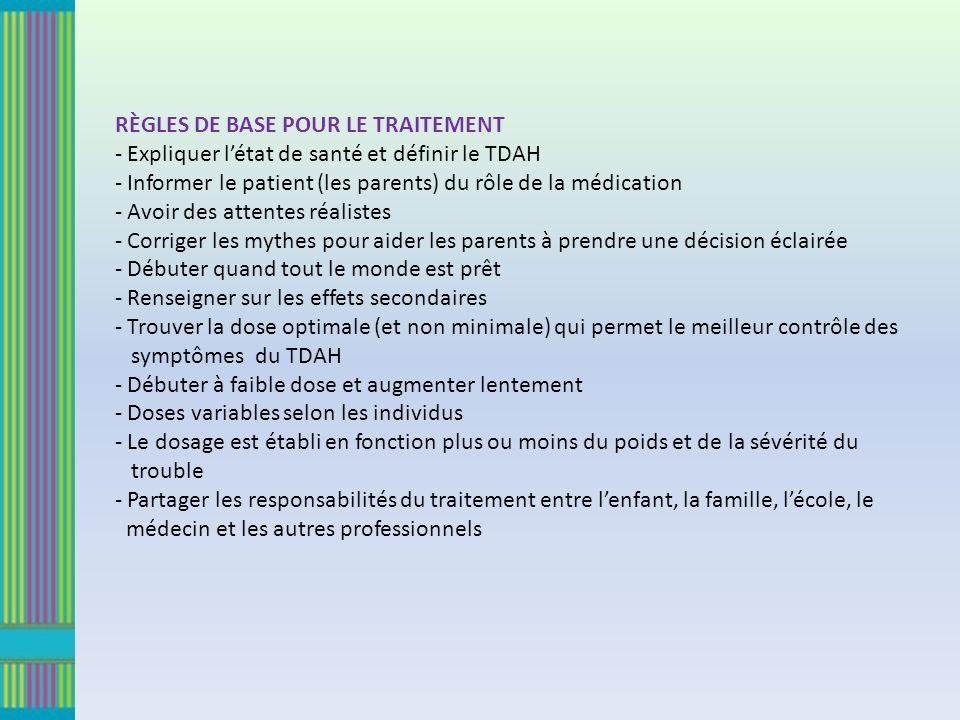 RÈGLES DE BASE POUR LE TRAITEMENT