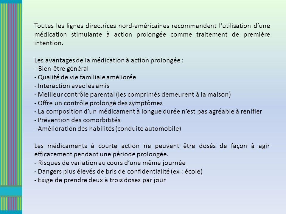 Toutes les lignes directrices nord-américaines recommandent l'utilisation d'une médication stimulante à action prolongée comme traitement de première intention.