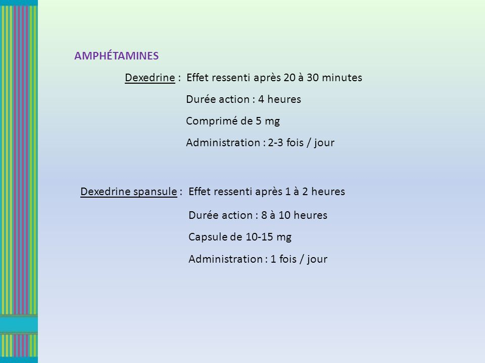 AMPHÉTAMINES Dexedrine : Effet ressenti après 20 à 30 minutes. Durée action : 4 heures. Comprimé de 5 mg.