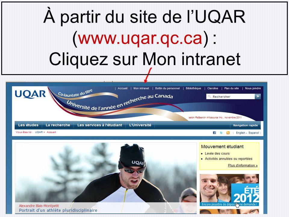 À partir du site de l'UQAR (www.uqar.qc.ca) :