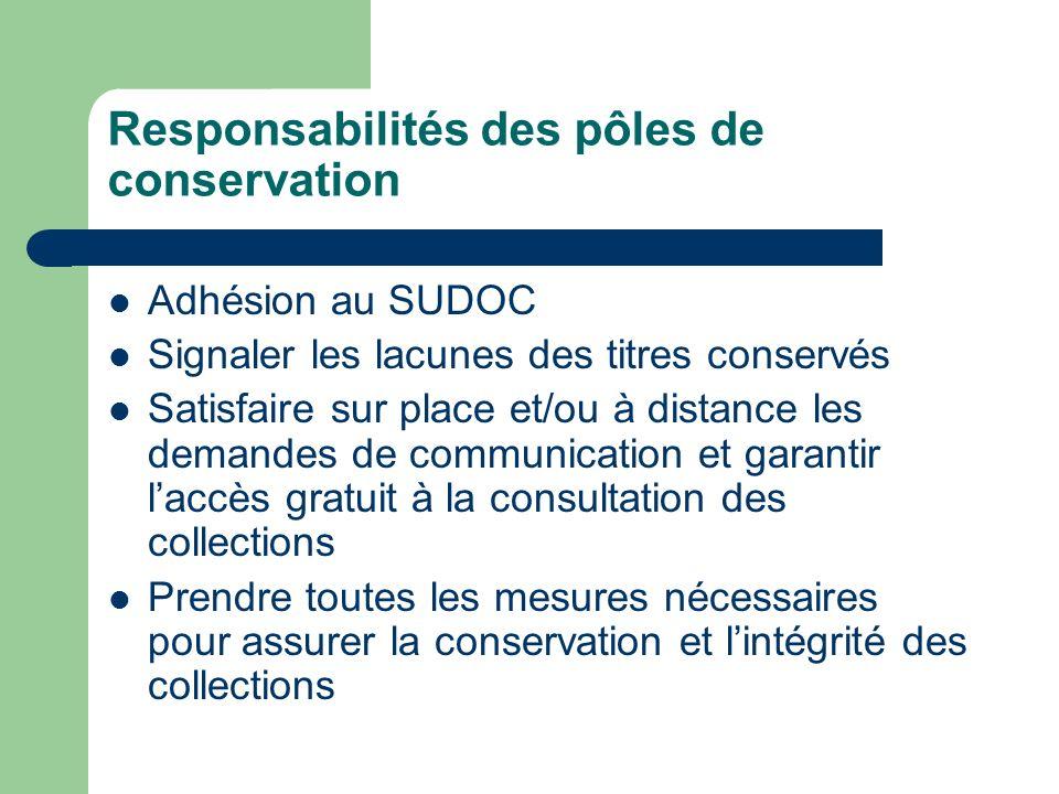 Responsabilités des pôles de conservation