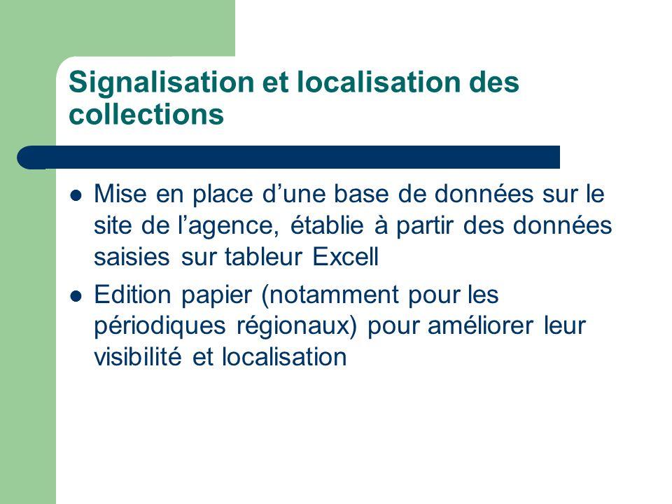 Signalisation et localisation des collections