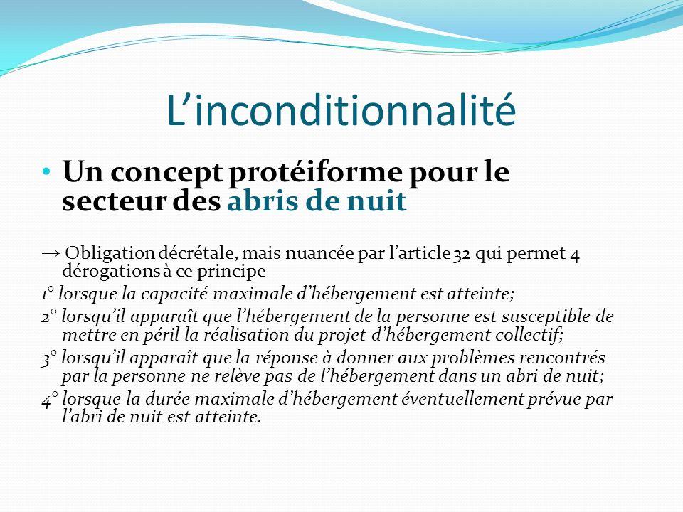 L'inconditionnalité Un concept protéiforme pour le secteur des abris de nuit.