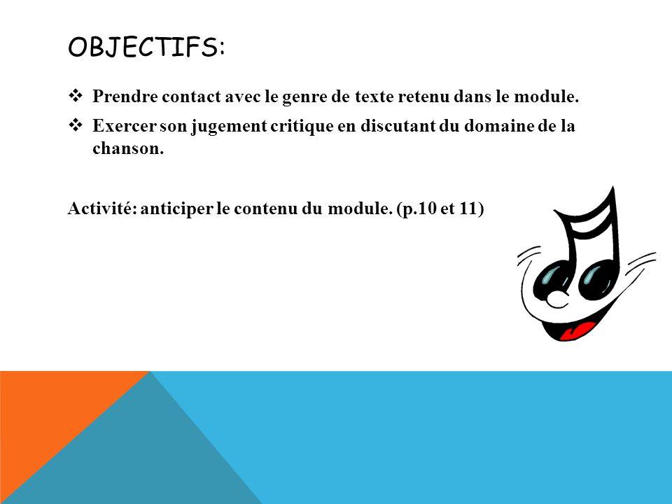 Objectifs: Prendre contact avec le genre de texte retenu dans le module. Exercer son jugement critique en discutant du domaine de la chanson.