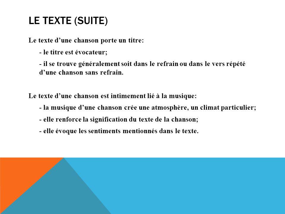 Le texte (suite)