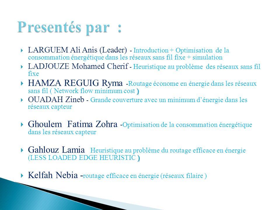 Presentés par : LARGUEM Ali Anis (Leader) - Introduction + Optimisation de la consommation énergétique dans les réseaux sans fil fixe + simulation.