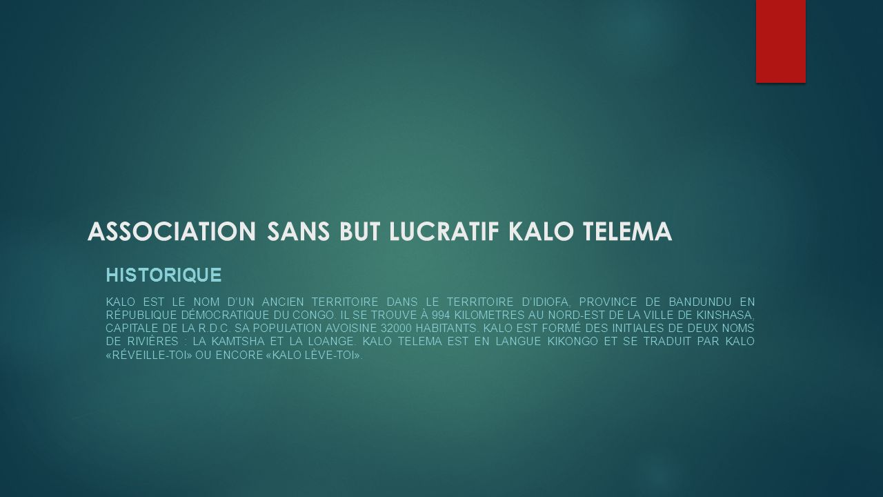 ASSOCIATION SANS BUT LUCRATIF KALO TELEMA