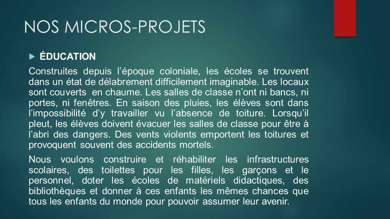 NOS MICROS-PROJETS ÉDUCATION